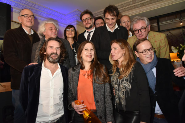 PARIS, FRANCE - NOVEMBER 08: Ist rank (L-R) Louis Roederer Group President and CEO Frederic Rouzaud, Carole Chretiennot, Prix de Flore 2016 awarded writer Nina Yargekov and Frederic Beigbeder. 2nd rank (L-R) Jury MmebersÊ: Franois Reynaert, Arnaud Vivian, Michele Fitoussi, Jacques BraunsteinÊand Christophe TisonÊattend the 'Prix De Flore 2016 : ' Literary Prize Winner Announcement at Cafe de Flore on November 8, 2015 in Paris, France. (Photo by Foc Kan/WireImage)